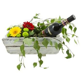 бизнес букет с вино